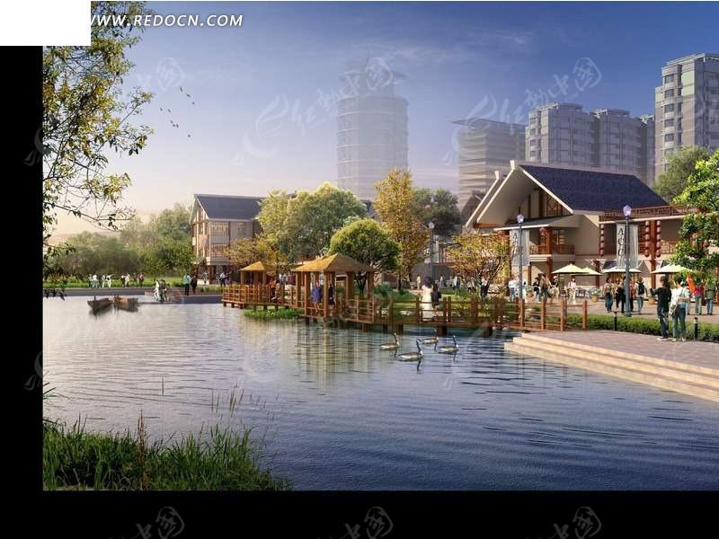 城市水岸休闲广场景观设计psd