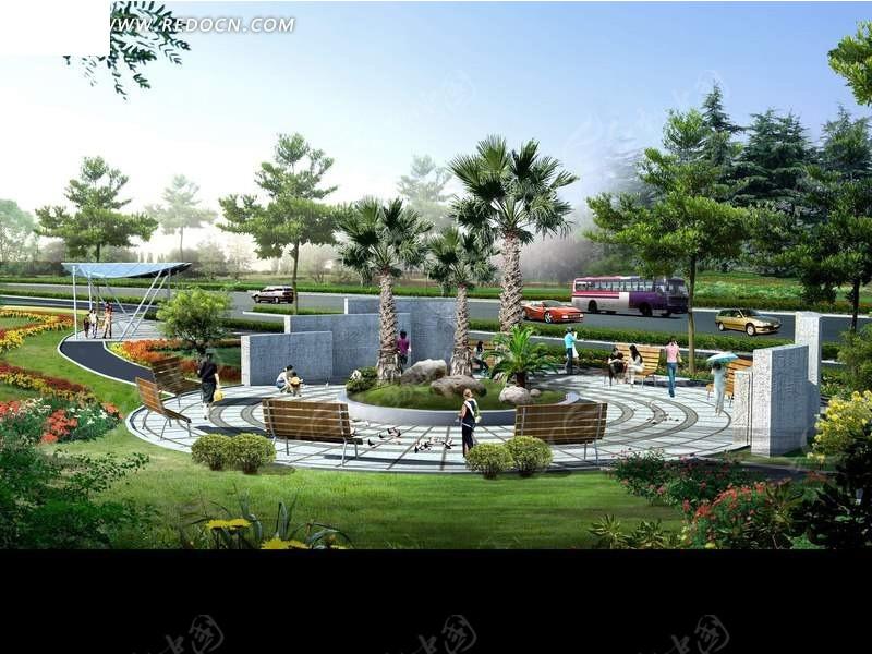 城市路边休闲小广场设计图