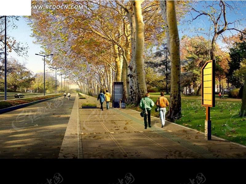 城市街区人行道风光效果图高清图片