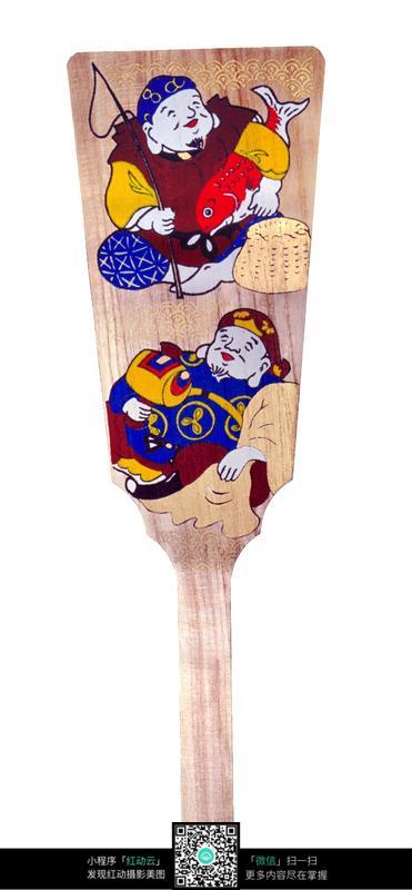 日式手绘插画木质铲子
