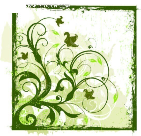 绿色的边框卷曲藤蔓
