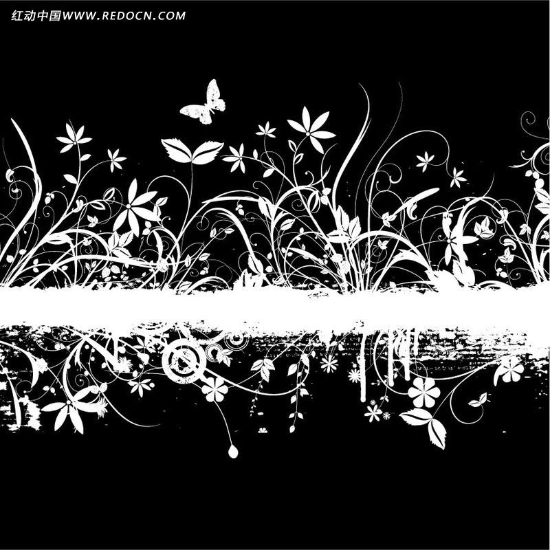 黑白色花草蝴蝶剪影