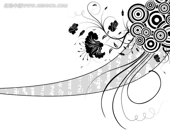 免费素材 矢量素材 花纹边框 流行元素 创意简单线条花纹设计