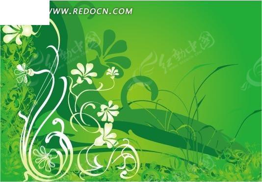 黄色 花朵 条纹 卷曲 藤蔓 绿色 涂鸦 花纹 花纹素材 花边 花边素材