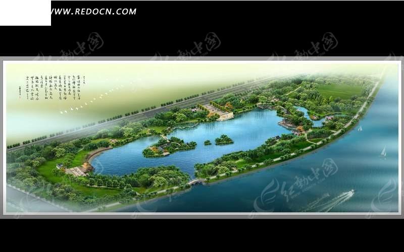 海滨公园布局规划鸟瞰图_园林景观