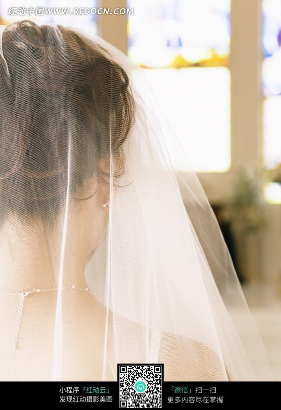 头顶白纱的新娘背影