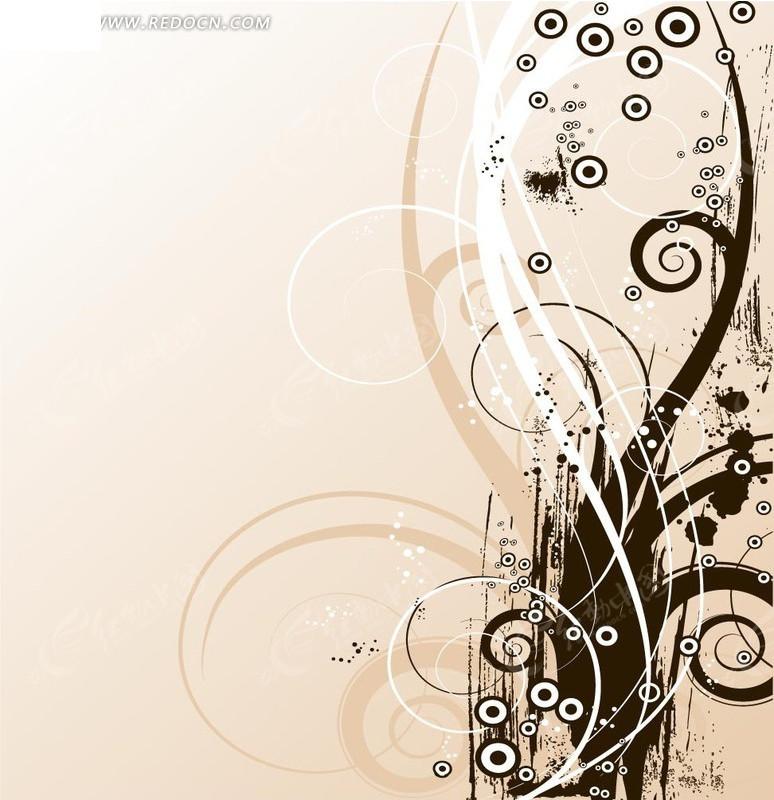 矢量花纹图案 eps; 欧式黑色纹样矢量图436; 粉色背景欧式花纹下载