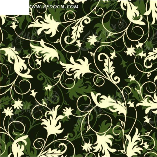 素材下载 矢量素材 花纹边框 流行元素 > 墨绿色背景上的卷草图案花