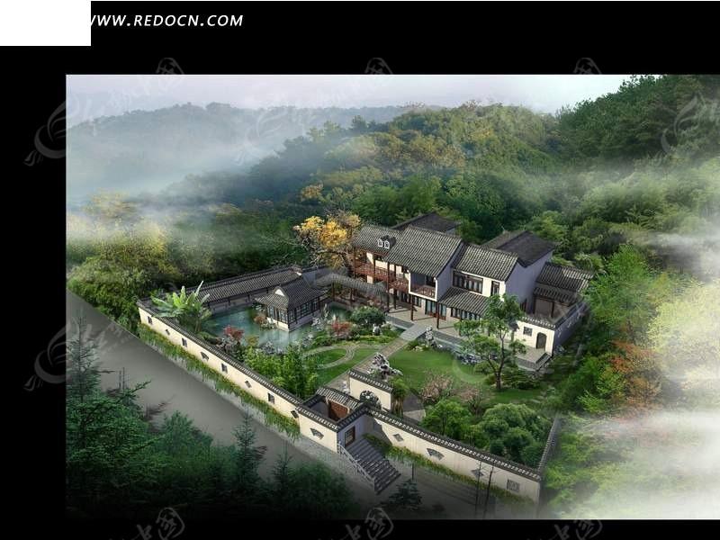 中式古建筑庄园鸟瞰图