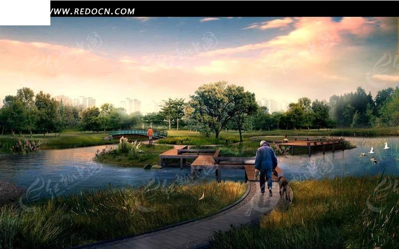 湿地公园湖心小岛与牵狗的老人psd免费下载_园林景观