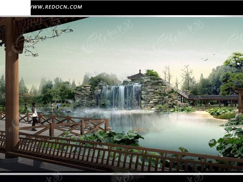 公园亭子中看湖泊_园林景观