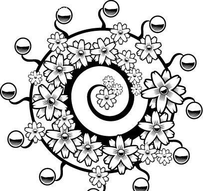 免费素材 矢量素材 花纹边框 流行元素 线描螺旋花卉素材  请您分享图片