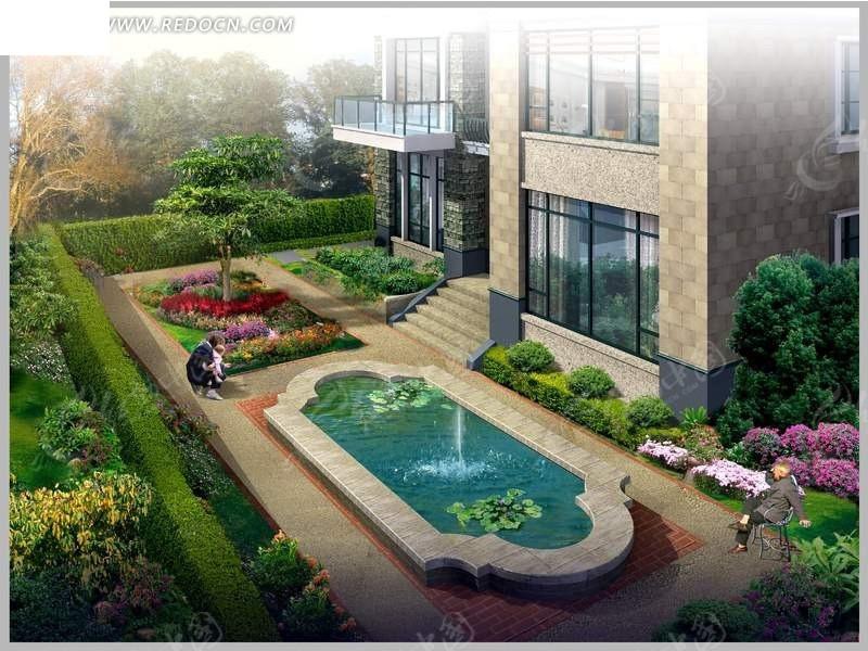 独栋别墅庭院景观设计psd