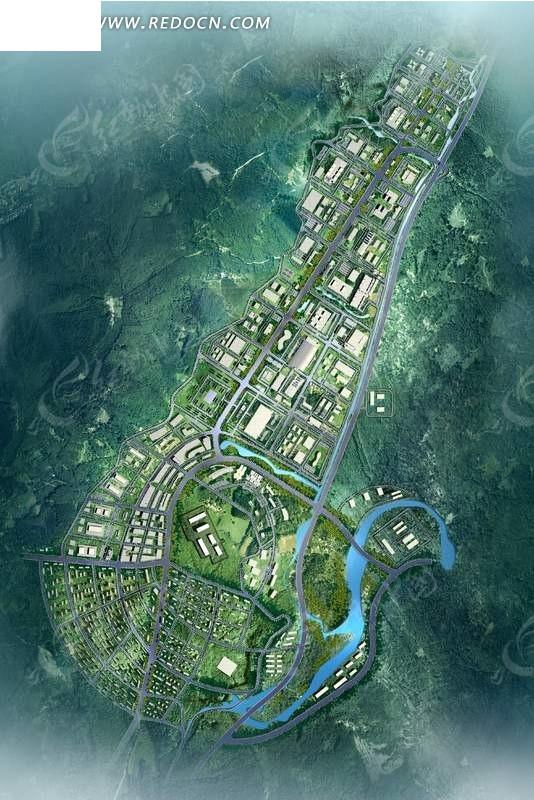城市规划鸟瞰图效果图