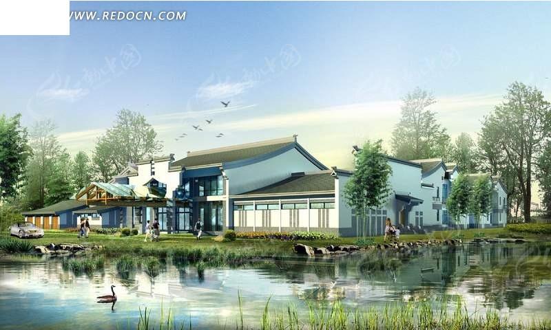 中式建筑河边美景效果图