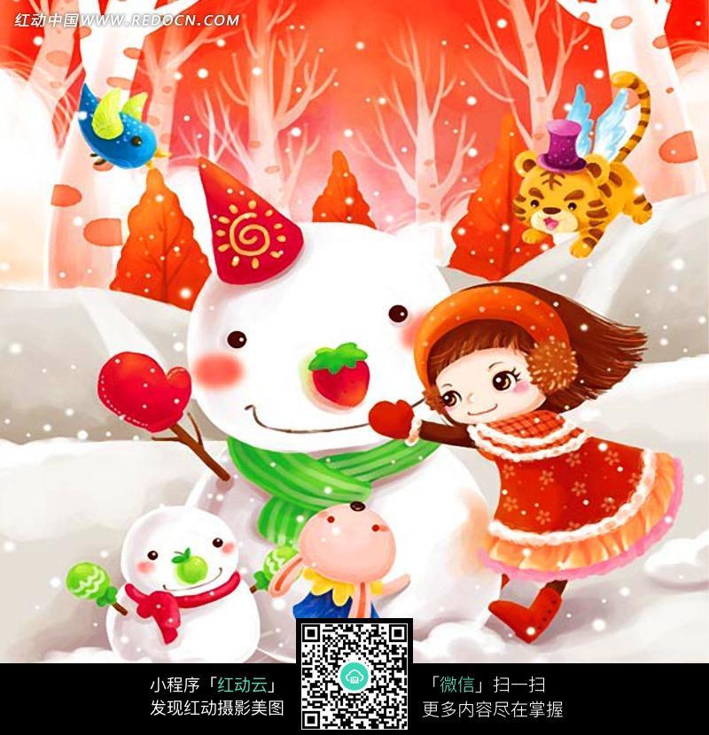 堆雪人的小女孩插画_人物卡通图片