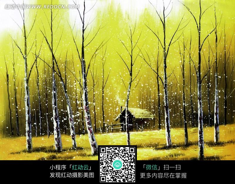秋天树林里的小木屋油画图片