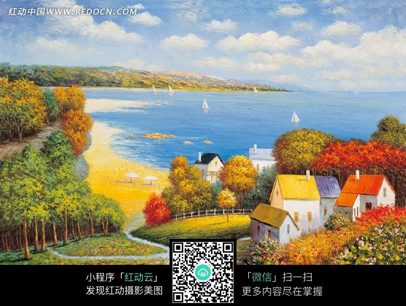 秋天海边的小镇风景油画图片