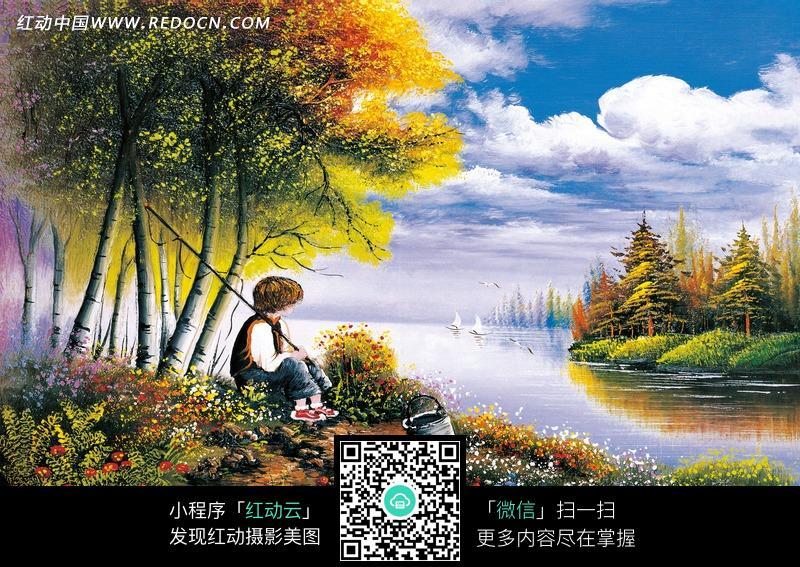 免费素材 图片素材 漫画插画 自然风景 油画河边开满野花的土地上钓鱼