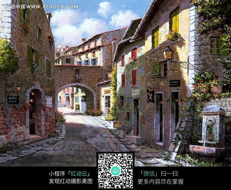 欧式风格小镇和砖路油画图片