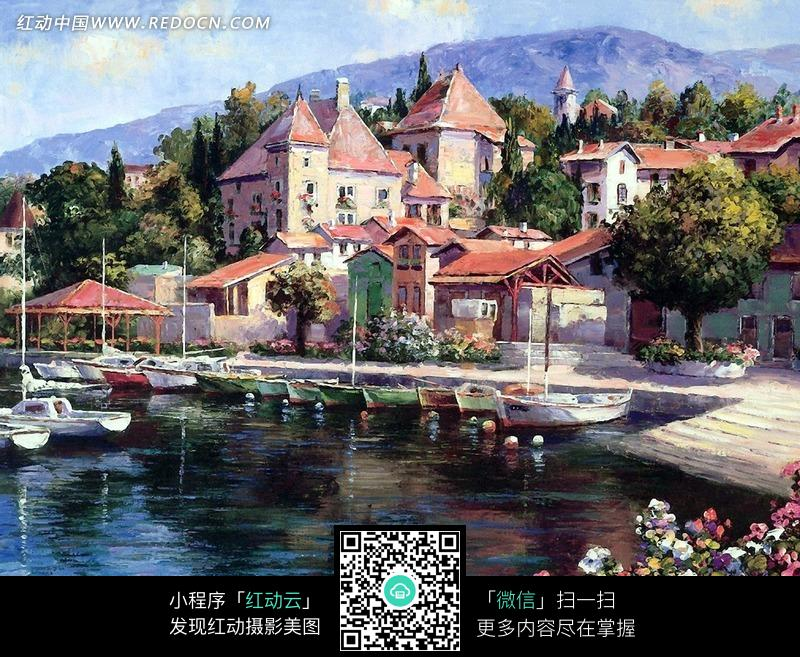 欧式古典建筑风景油画