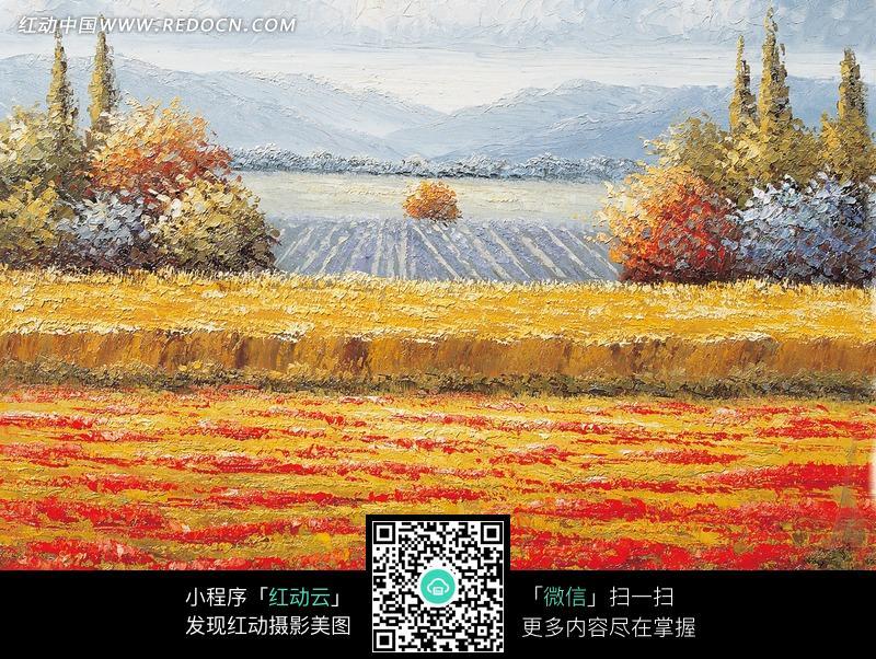 手绘田间风景水彩插画图片