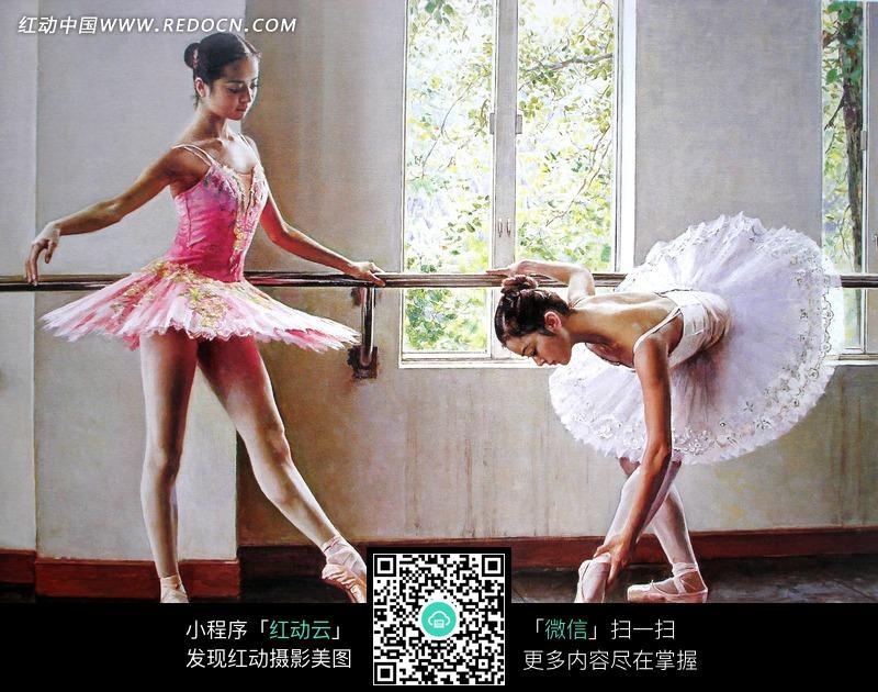 跳芭蕾舞的女孩油画图片