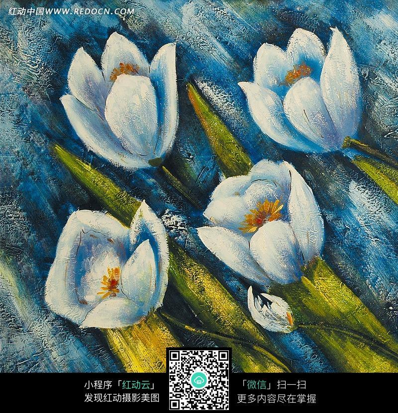 叶子/蓝色花朵/花蕾构成的图画