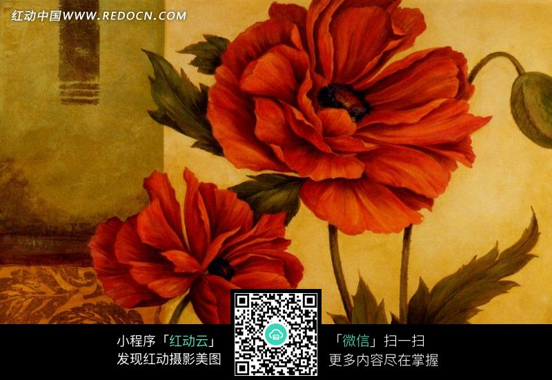 免费素材 图片素材 文化艺术 书画文字 手绘红色花朵和锯齿边缘叶子