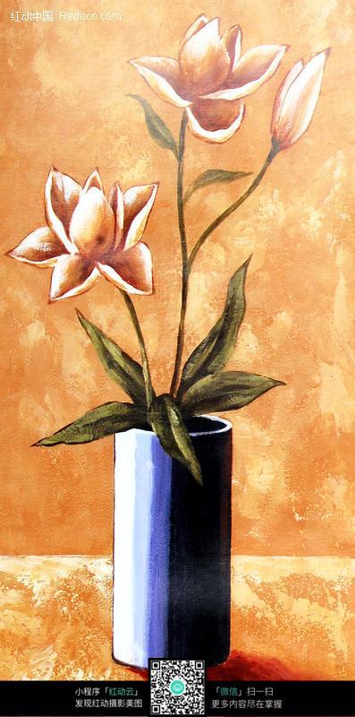手绘花瓶装饰画