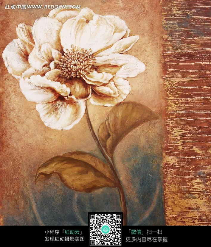 手绘精美褐色花朵和叶子