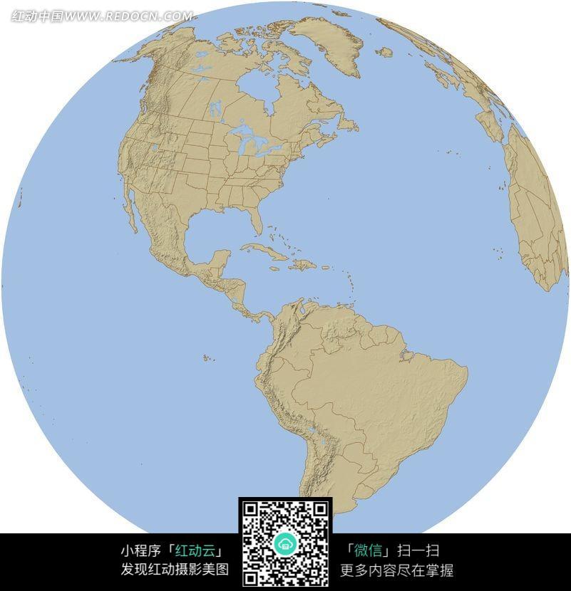 白色海洋彩色手绘地面地球仪