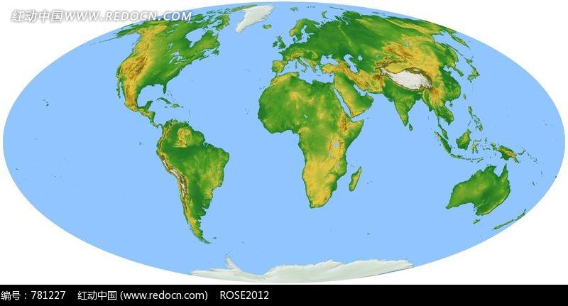 蓝色海洋黄绿色地图椭圆形世界地图图片