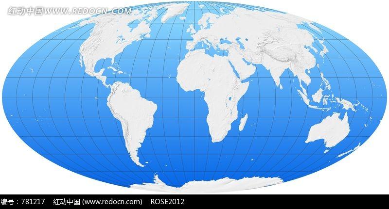 扁球形蓝底白色世界地图