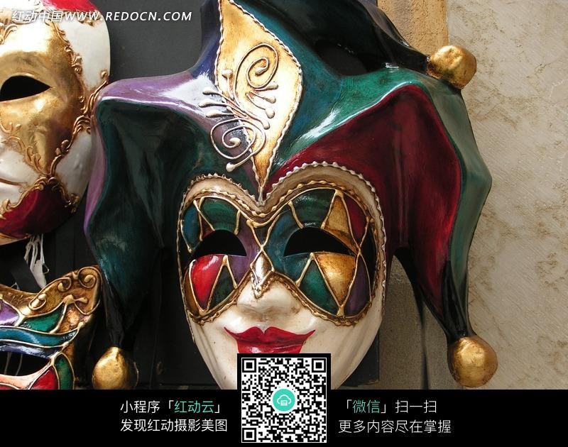 威尼斯彩色小丑面具图片