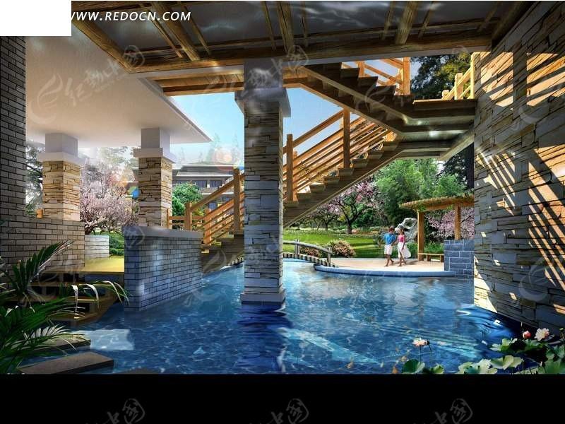 公园水池桥涵设计效果图_园林景观