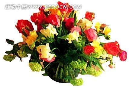 花瓶中的玫瑰花花束psd素材