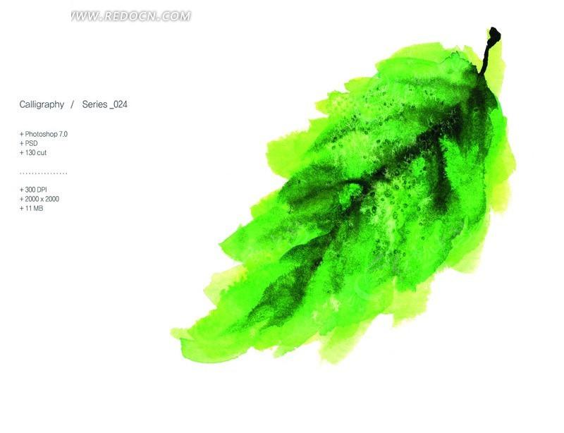 手绘绿色叶子psd素材