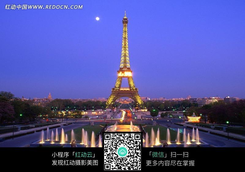 夜晚上的埃菲尔铁塔图片免费下载_红动网