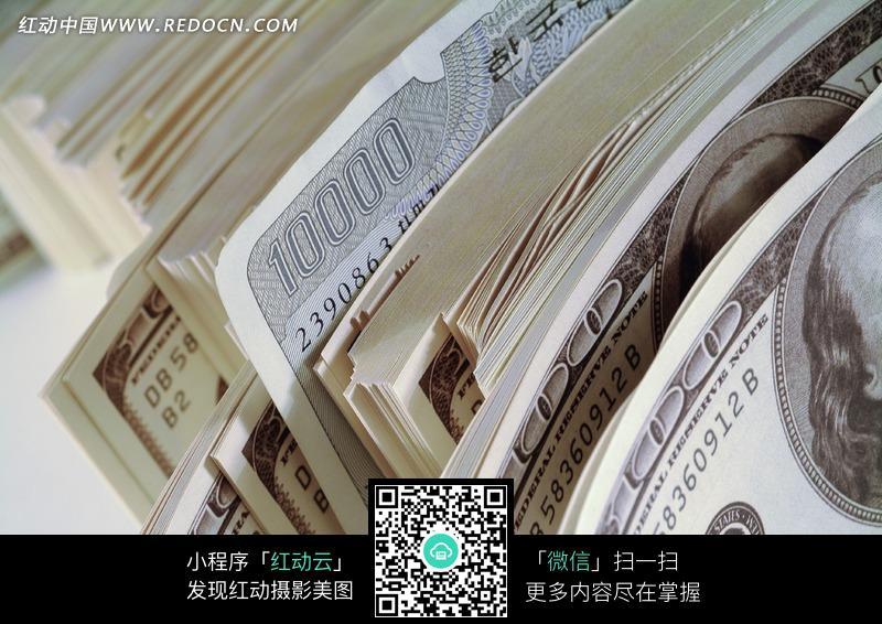 一叠美元图片 金融货币图片