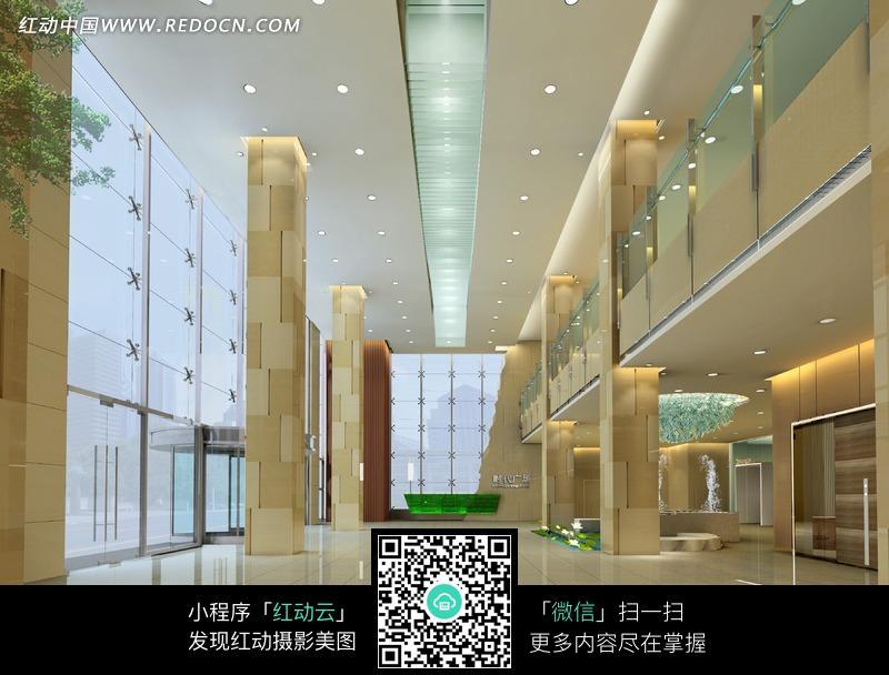 黄色立柱和地砖的大厅室内效果图图片 图库下载 编号 8028 高清图片