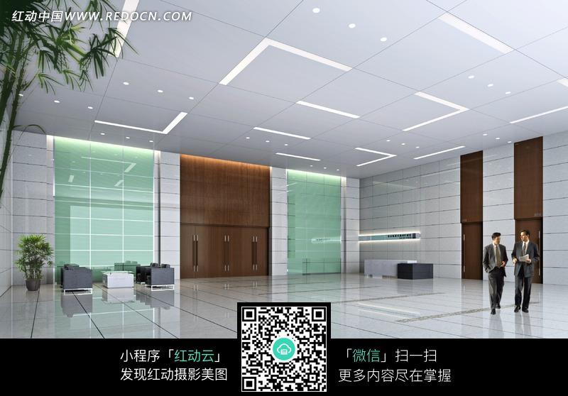白色大理石地面的大厅效果图图片