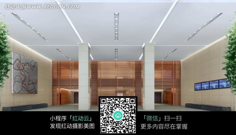 白色顶棚的大厅室内效果图