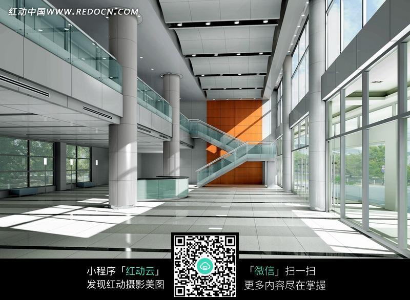 白色地砖的大厅室内效果图图片 高清图片