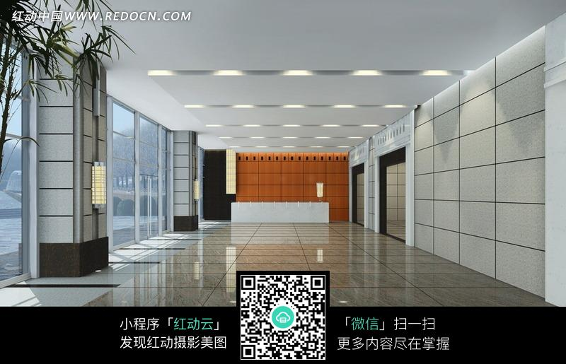 橘色背景墙的大厅效果图图片