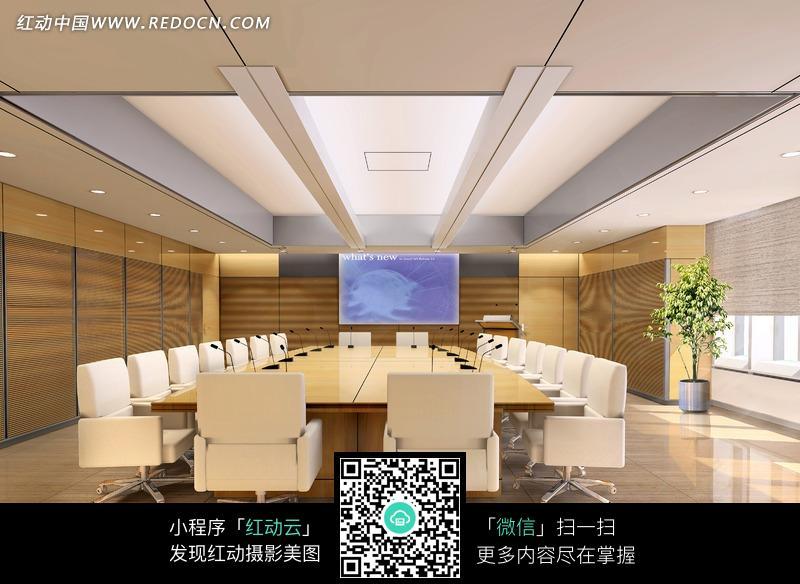 白色座椅的大型会议室3d效果图图片