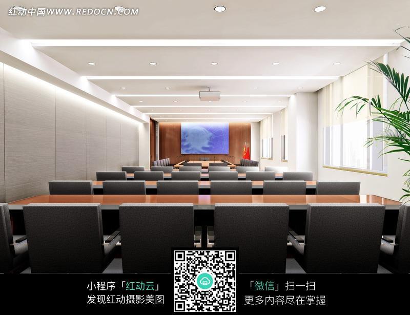 白色墙面的小型多功能厅效果图图片免费下载 编号804333 红动网图片
