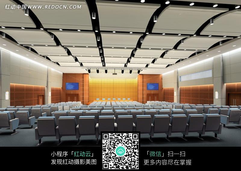 白色椅子的多功能厅效果图