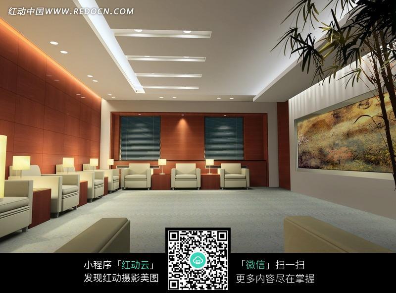免费素材 图片素材 环境居住 室内设计 带墙画和竹子的贵宾室效果图