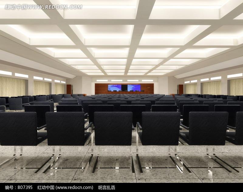 会议室 室内效果图 报告大厅 黑色椅子 宽敞 简洁会议厅 室内设计